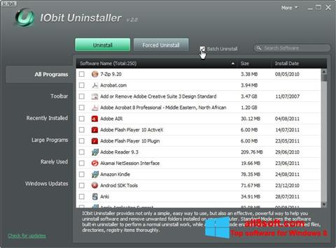 Ekran görüntüsü IObit Uninstaller Windows 8