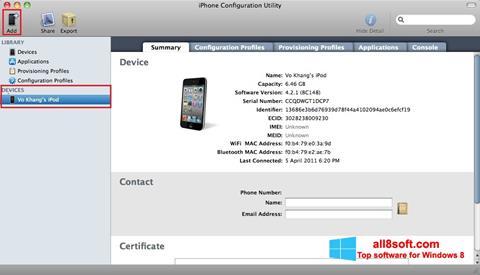 Ekran görüntüsü iPhone Configuration Utility Windows 8