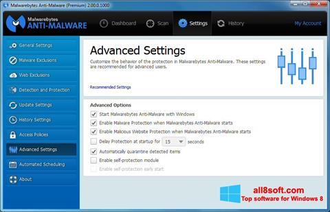 Ekran görüntüsü Malwarebytes Anti-Malware Windows 8