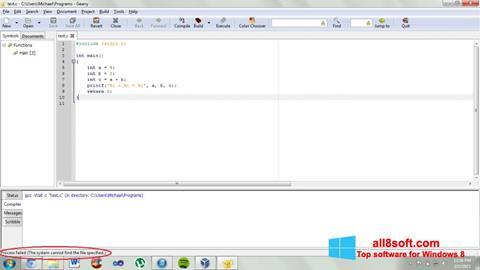 Ekran görüntüsü Geany Windows 8