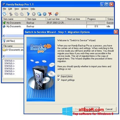 Ekran görüntüsü Handy Backup Windows 8