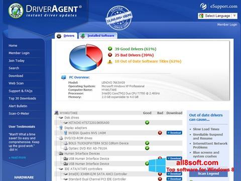 Ekran görüntüsü DriverAgent Windows 8