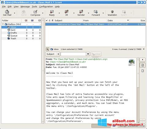 Ekran görüntüsü Claws Mail Windows 8