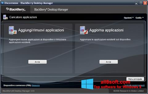 Ekran görüntüsü BlackBerry Desktop Manager Windows 8