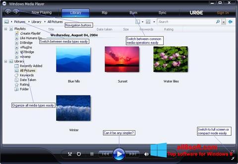 Ekran görüntüsü Media Player Windows 8
