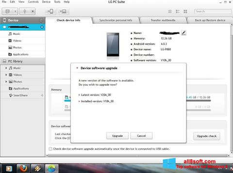 Ekran görüntüsü LG PC Suite Windows 8