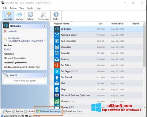 Ekran görüntüsü Uninstall Tool Windows 8