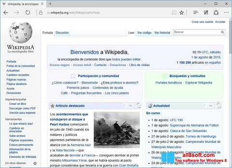 Ekran görüntüsü Microsoft Edge Windows 8