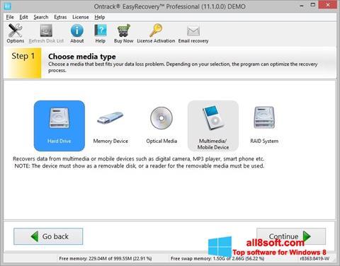Ekran görüntüsü EasyRecovery Professional Windows 8