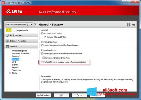 Ekran görüntüsü Avira Professional Security Windows 8