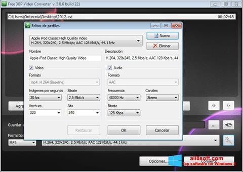 Ekran görüntüsü Free MP4 Video Converter Windows 8