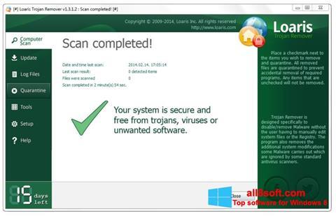 Ekran görüntüsü Loaris Trojan Remover Windows 8