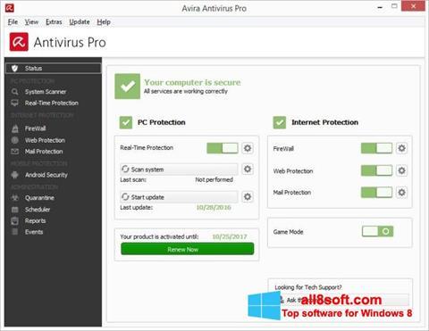 Ekran görüntüsü Avira Antivirus Windows 8