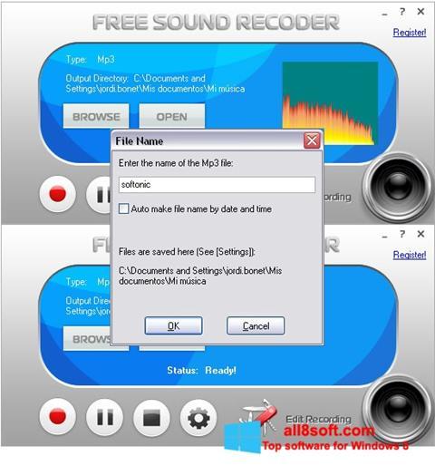 Ekran görüntüsü Free Sound Recorder Windows 8