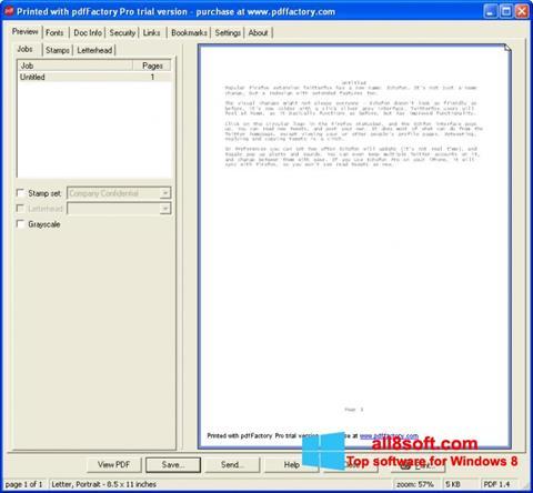 Ekran görüntüsü pdfFactory Pro Windows 8
