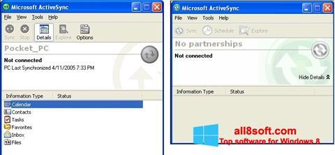 Ekran görüntüsü Microsoft ActiveSync Windows 8