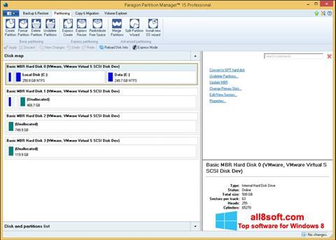 Ekran görüntüsü Paragon Partition Manager Windows 8