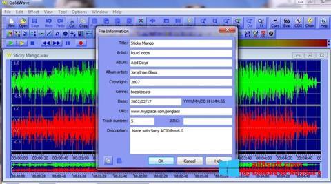 Ekran görüntüsü GoldWave Windows 8