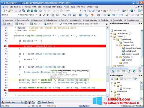 Ekran görüntüsü phpDesigner Windows 8