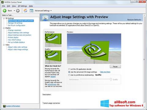 Ekran görüntüsü NVIDIA ForceWare Windows 8