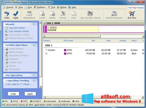 Ekran görüntüsü EASEUS Partition Master Windows 8