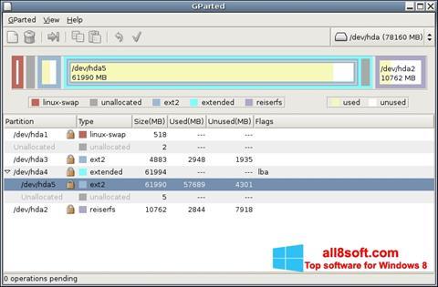 Ekran görüntüsü GParted Windows 8